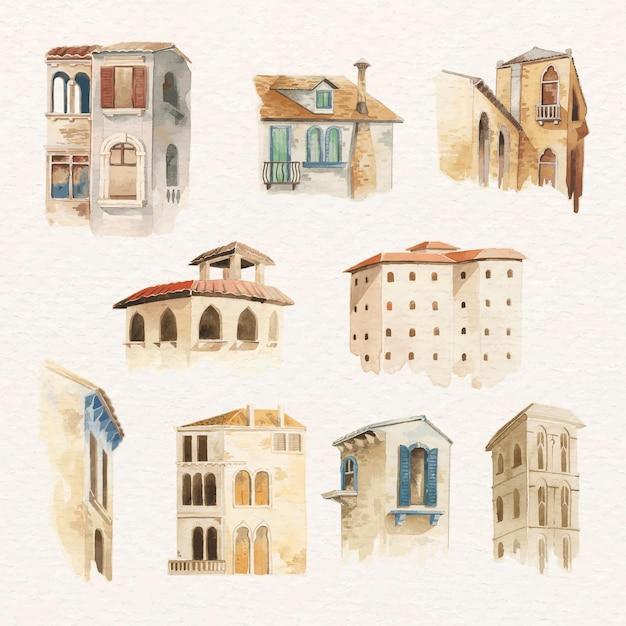 Stara europejska kolekcja akwareli architektonicznych