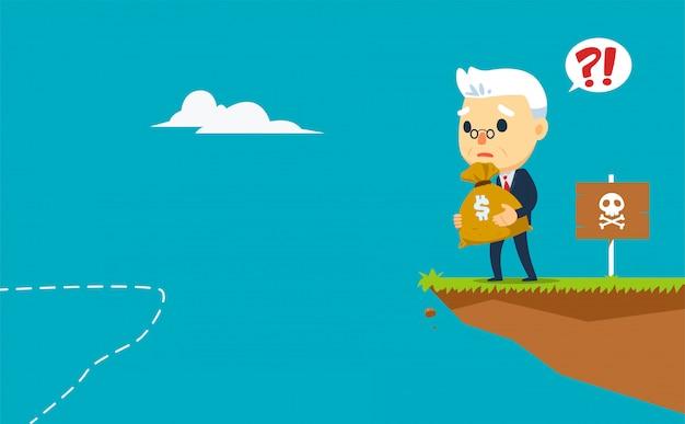 Stara firma nie ma dokąd pójść, trzymając worek pieniędzy. ilustracji wektorowych