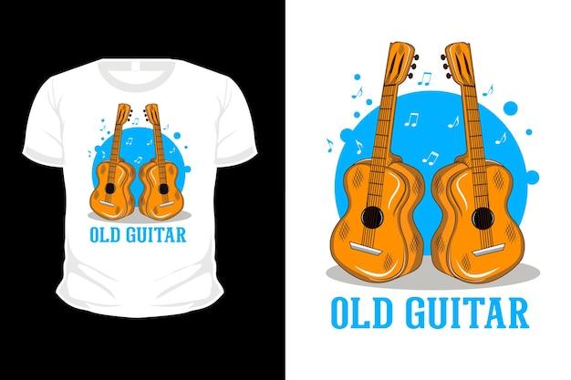 Stara gitara ilustracja kreskówka t shirt projekt