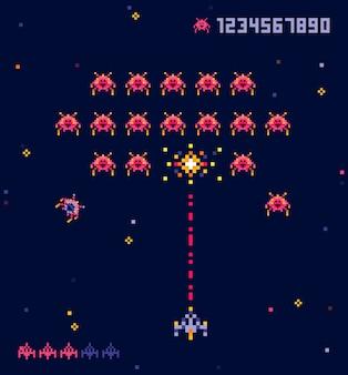 Stara gra wojenna kosmiczna ufo w stylu pikseli. pikselowe potwory i statek kosmiczny. gra retro, 8-bitowa