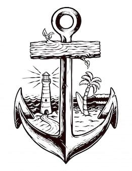 Stara ilustracja kotwicy i plaży