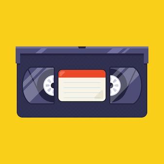 Stara kaseta wideo z lat 90. płaska ilustracja.