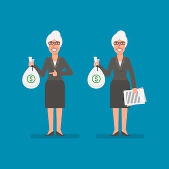 Stara kobieta biznesu trzyma torbę, pieniądze trzyma dokumentację i uśmiecha się ludzie biznesu