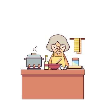 Stara kobieta kulinarna karmowa charakteru wektoru ilustracja
