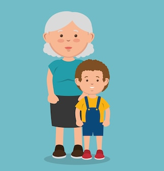 Stara kobieta obok dzieciaka