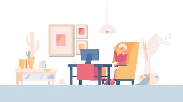 Stara kobieta rozmawia przez wideokonferencję lub ogląda tv kreskówki ilustrację. babcia w domu.