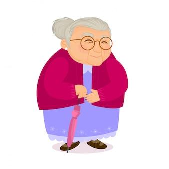 Stara kobieta z parasolem