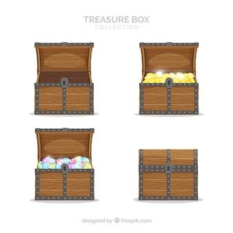 Stara kolekcja skrzynia skarbów z płaskiej konstrukcji