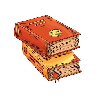 Stara książka. dwa wektor stary bookwith starożytna mądrość. vintage antyczny pergamin. symbol papeterii starożytnego pisania do pracy poetyckiej lub edukacji.