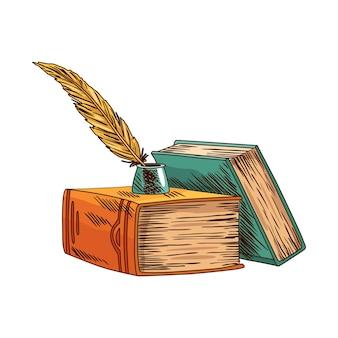 Stara książka. stary papier firmowy z rocznika antyczne pióro. starożytny pergamin.