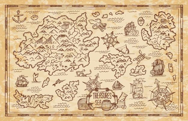 Stara mapa skarbów z wyspami morza karaibskiego
