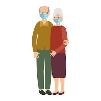 Stara para małżeńska jest ubranym ochronną medyczną maskę. babcia dziadek.