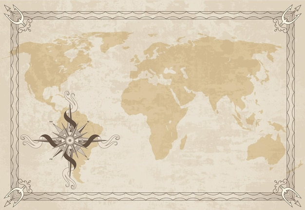 Stara ramka mapy z retro kompasem morskim na stary tekstura papieru