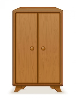 Stara retro drewniana meblarska garderoby wektoru ilustracja