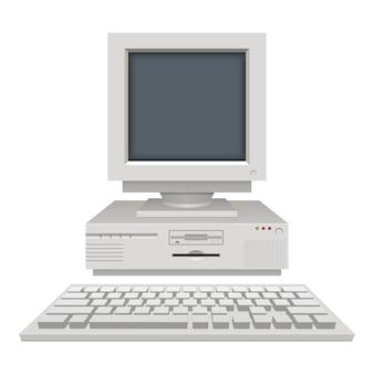Stara rocznika komputeru osobistego ilustracja na białym tle