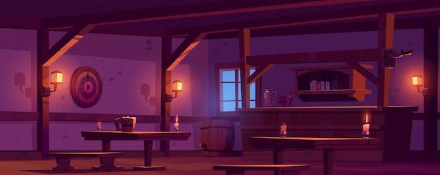 Stara tawerna, vintage pub z drewnianym kontuarem barowym, półką z butelkami, świecącymi lampionami i kuflem piwa na stole. kreskówka puste wnętrze retro salonu z celem beczki i rzutki w nocy