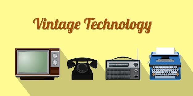 Stara technologia z radiotelefonem telewizyjnym i maszyną do pisania