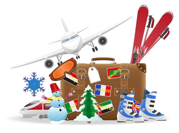 Stara walizka do podróży i elementy do ilustracji wektorowych rekreacji zimowej