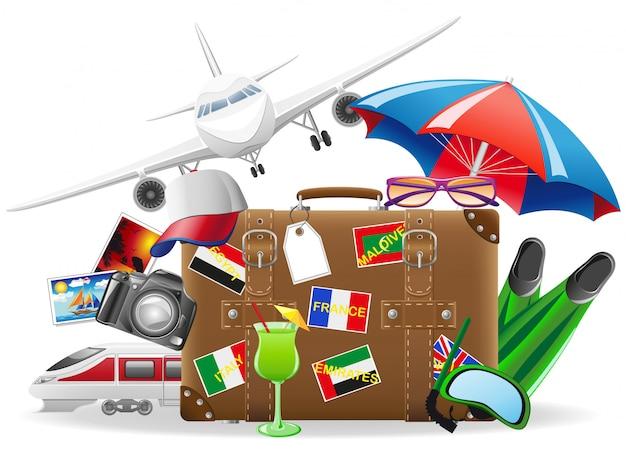 Stara walizka do podróży i elementy na ilustracji wektorowych rekreacji latem