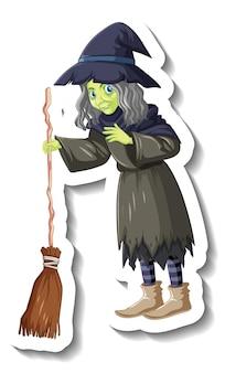 Stara wiedźma trzymająca naklejkę z postacią z kreskówek na miotle
