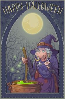 Stara wiedźma w stożkowym kapeluszu z czarnym kotem warzącym magiczny napój w kociołku. postać z kreskówki w stylu halloween. liniowy rysunek w jasnych kolorach i zacieniowany. pojedynczo na białym tle.