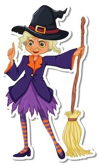 Stara wiedźma z naklejką z postacią z kreskówek na miotle
