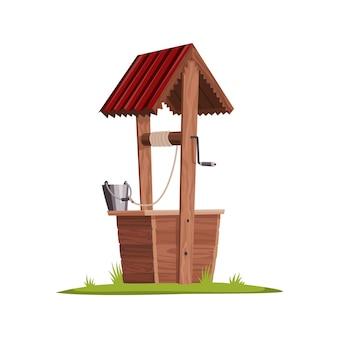 Stara woda dobrze wykonana z drewna. wieś dobrze z liną, wiadrem i drewnianymi elementami