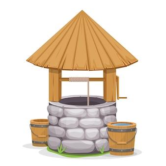 Stara wody well ilustracja na białym tle
