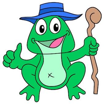 Stara żaba niosąca twarz kija uśmiecha się radośnie, doodle rysuj kawaii. sztuka ilustracji wektorowych
