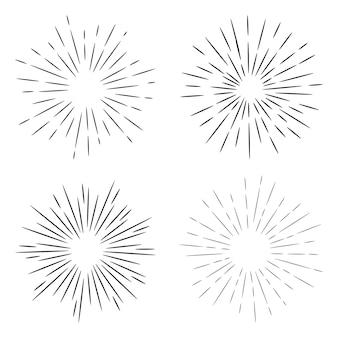 Starburst, ręcznie rysowane sunburst. element projektu fajerwerki czarne promienie. efekt wybuchu komiksu. promieniujące, promieniste linie.