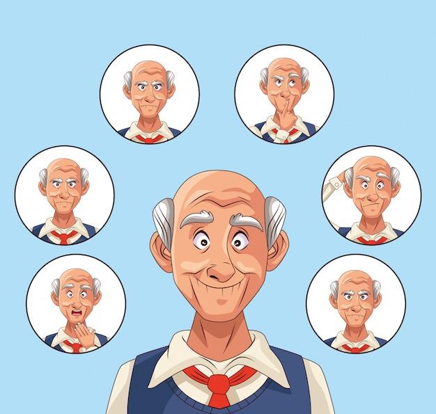 Starcy pacjenci ilustracji znaków choroby alzheimera