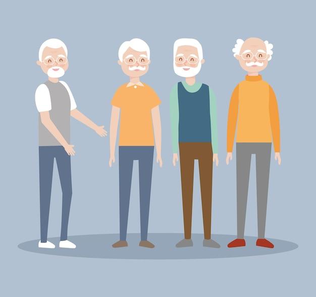 Starcy stojący na tle