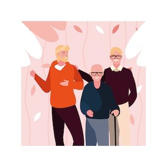 Starcy z synem mężczyzną bawią się razem, pokolenia