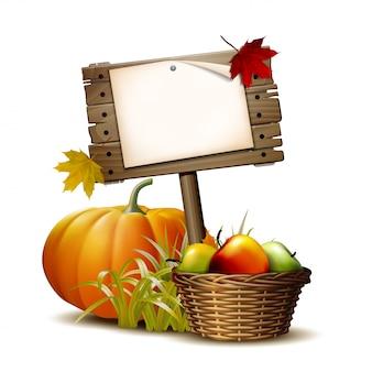 Stare drewniane z pomarańczową dynią, jesiennymi liśćmi i koszem pełnym dojrzałych jabłek. ilustracja dożynki jesienne lub święto dziękczynienia.
