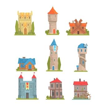 Stare i średniowieczne budynki historyczne kolekcja europejskich wież, fortyfikacji i domów miejskich