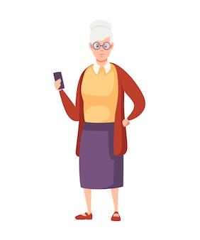 Stare kobiety stojąc z smartphone i okulary postać z kreskówki