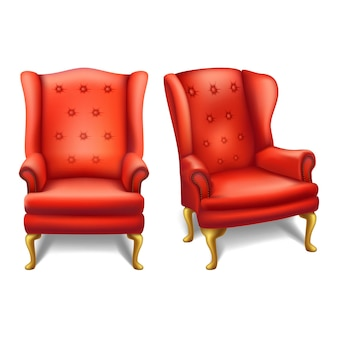 Stare mody vintage czerwone krzesło z przodu i widok z boku