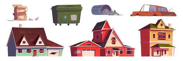 Stare opuszczone domy kosz na śmieci i zepsuty samochód