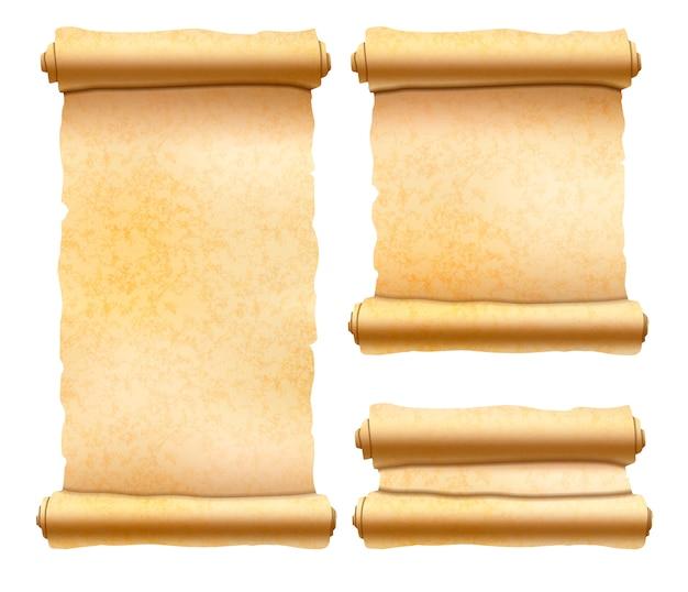 Stare teksturowane zwoje papirusu