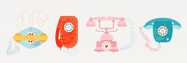 Stare telefony vintage z przewodem.