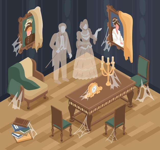 Stare wnętrze pokoju z izometrycznymi dekoracjami tajemnicy