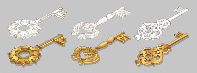 Stare złote klucze kolekcja ilustracji na białym tle