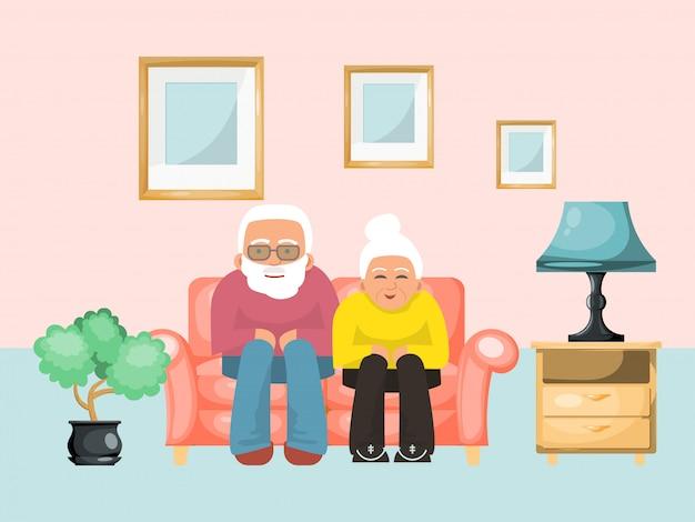 Starej pary urocza męska żeńska siedząca kanapa, wieka wieczór rodzinny pojęcie relaksuje ilustrację. przytulny pokój.