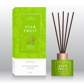 Starfruit domowy zapach w sztyfcie streszczenie wektor etykieta pudełko szablon ręcznie rysowane szkic kwiaty liście ...