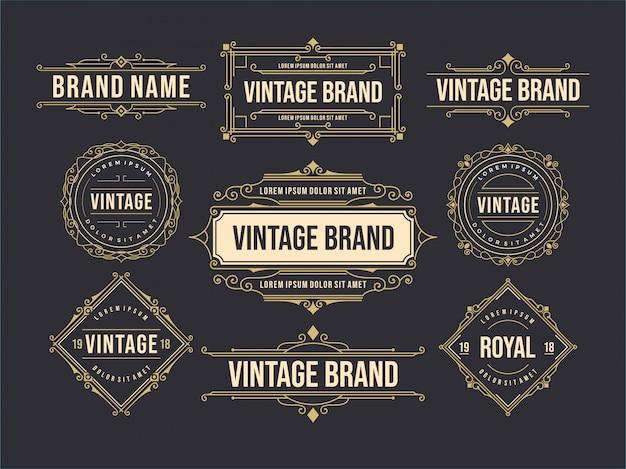 Starodawny stary szablon projektu zestaw etykiet