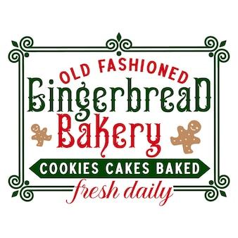 Staromodne pierniki ciasteczka piekarnicze ciasta pieczone świeże codziennie napis premium wektorów