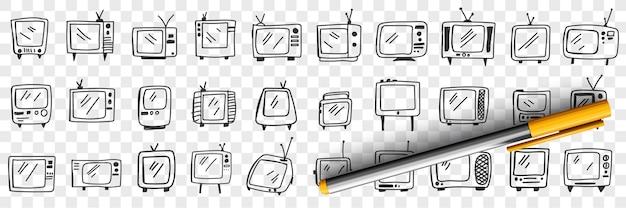 Staromodny telewizor doodle zestaw ilustracji