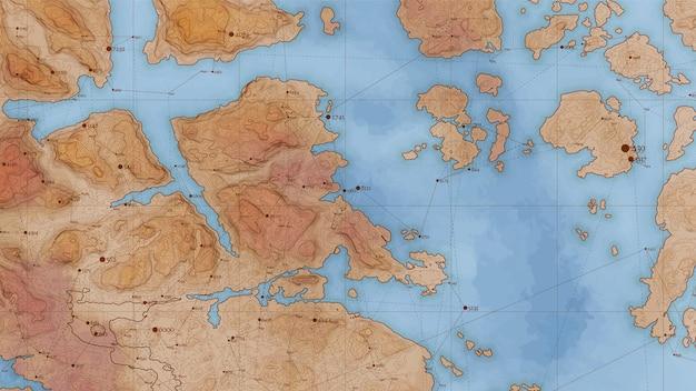Starożytna abstrakcyjna mapa ulgi z dużymi danymi i połączeniami.