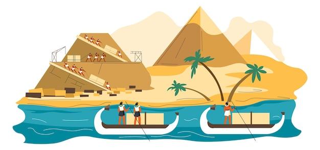 Starożytna cywilizacja, ludzie i niewolnicy budujący piramidy, budowa cudu świata. wydarzenie historyczne, pomnik nad rzeką nil. cesarze unoszący się na łodziach i obserwujący. wektor w stylu płaskiej