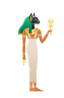 Starożytna egipska bogini bastet. bóstwo z głową kota. ilustracja kreskówka w starym stylu sztuki.